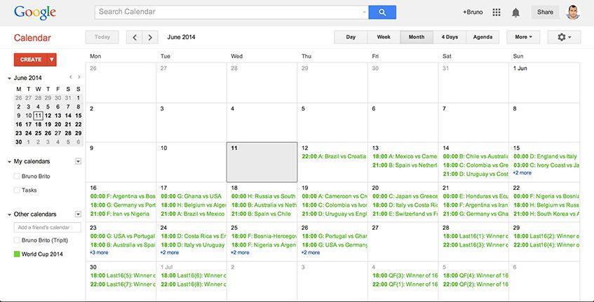 O Mundial no Google Calendar