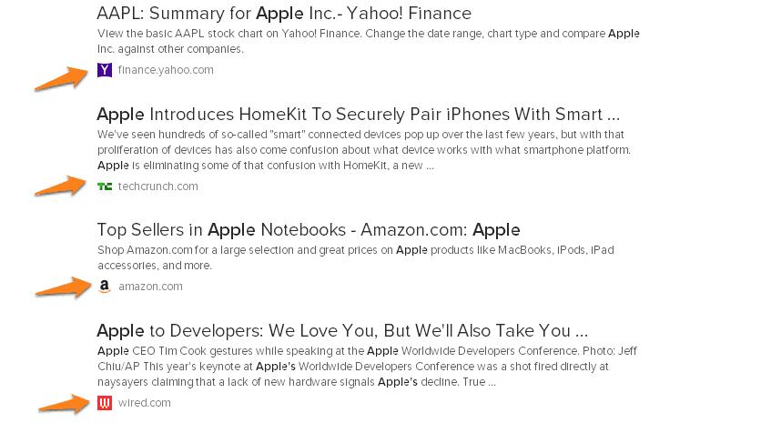 Os ícones dos vários sites no DuckDuckGo