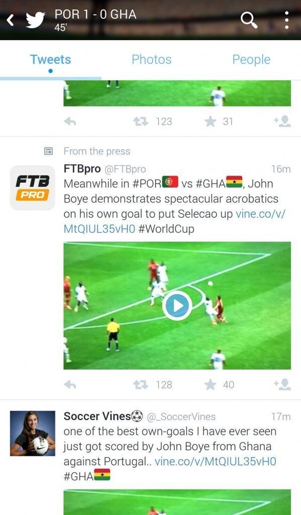 A feed do jogo Portugal-Gana, ao intervalo
