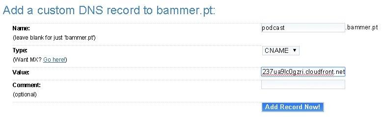 Configurando o CNAME na Dreamhost