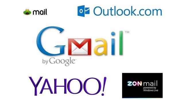 Gmail, Outlook, Sapo, ZON e Yahoo Mail