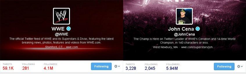 WWE e John Cena no Twitter