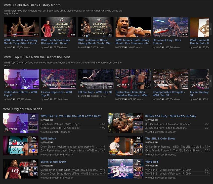 A WWE no YouTube