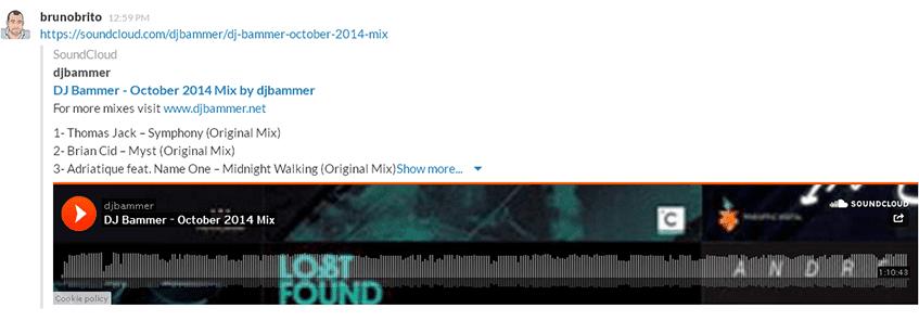 Embed de um link do SoundCloud no Slack
