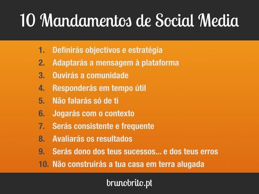 Sumário dos 10 Mandamentos de Social Media