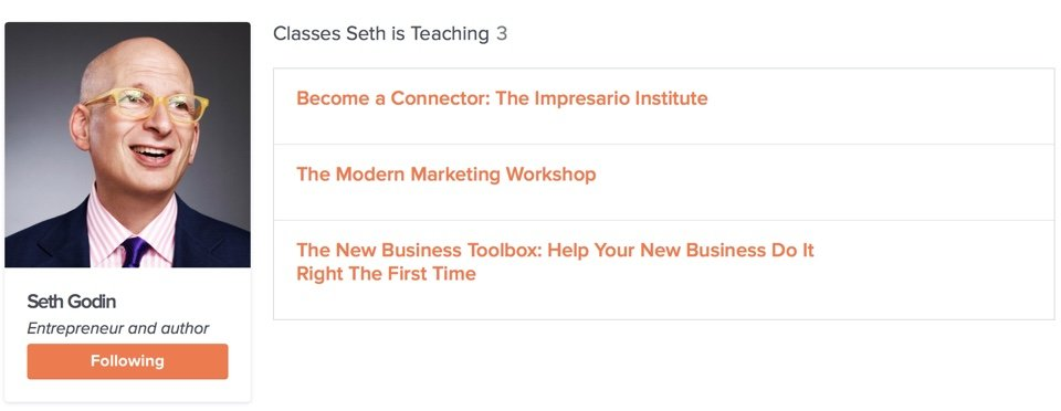 Seth Godin no Skillshare
