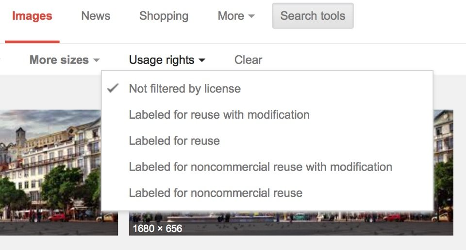 Google Images filter by Rights