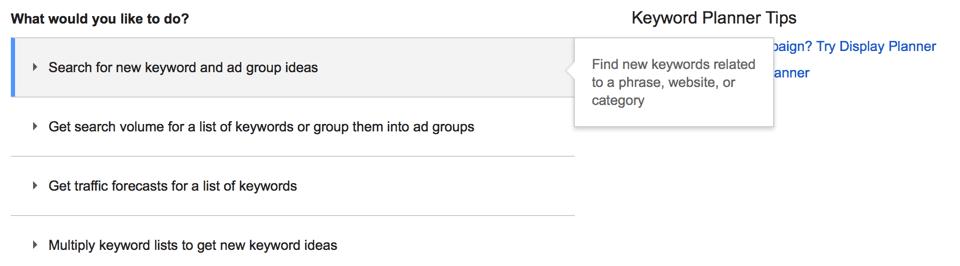 Google Keyword Planner - Opções