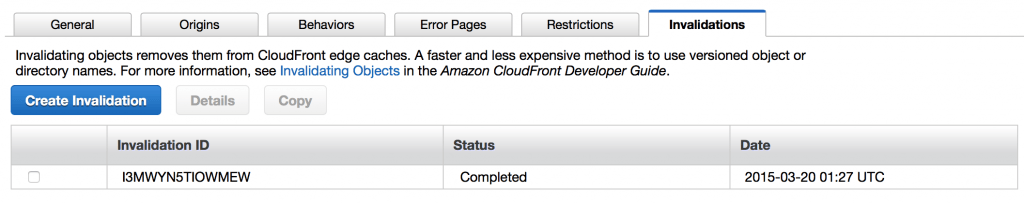 Cloudfront invalidation completed