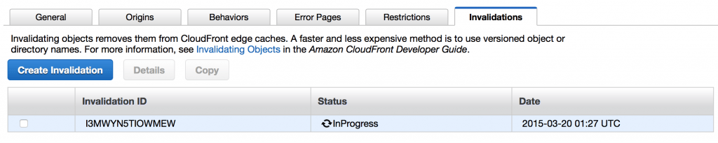 Cloudfront invalidation in progress