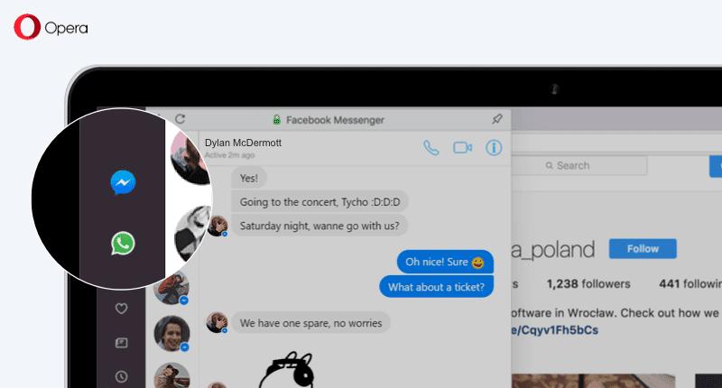 Opera com Messenger e WhatsApp na barra lateral