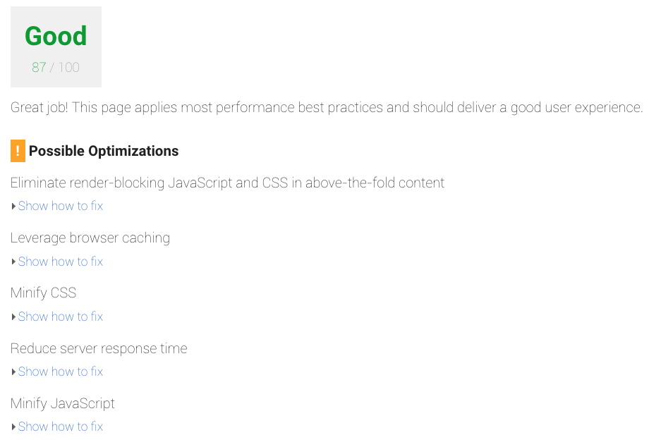 Google PageSpeed Insights em acção