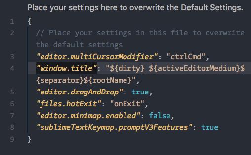 Definições do VS Code