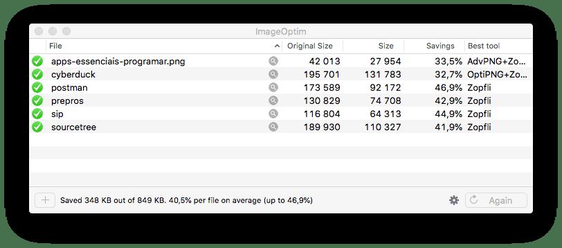ImageOptim para Mac em acção
