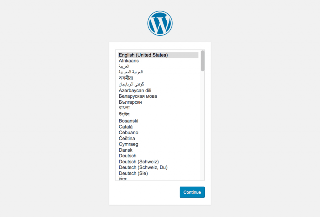 Idioma do WordPress