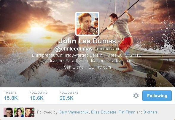 John Lee Dumas no Twitter