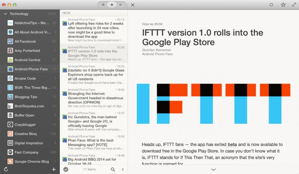 Reeder na nova versão beta para Mac