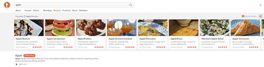 "Receitas com o termo ""Apple"" no DuckDuckGo"