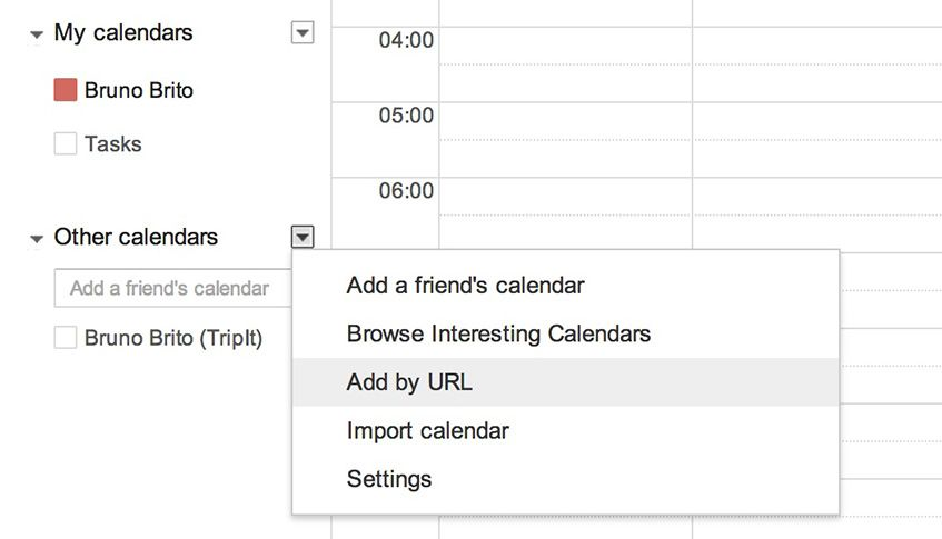 """Add by URL"" no Google Calendar (passo 1)"