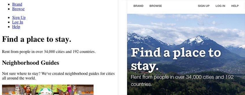 O site do AirBnB com e sem CSS