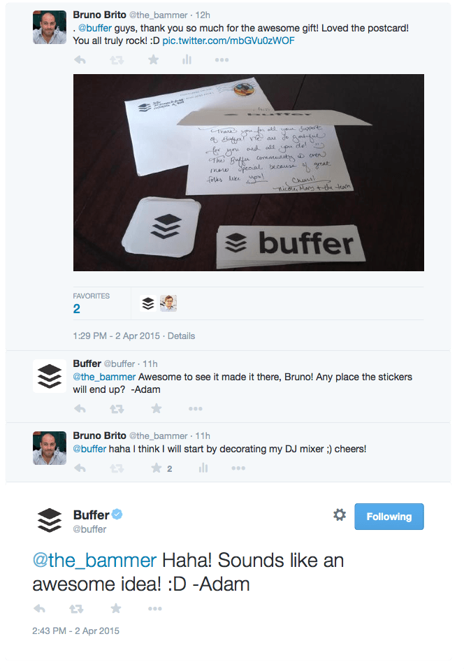 Buffer - conversa follow-up
