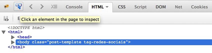 Inspeccionar código no Firebug