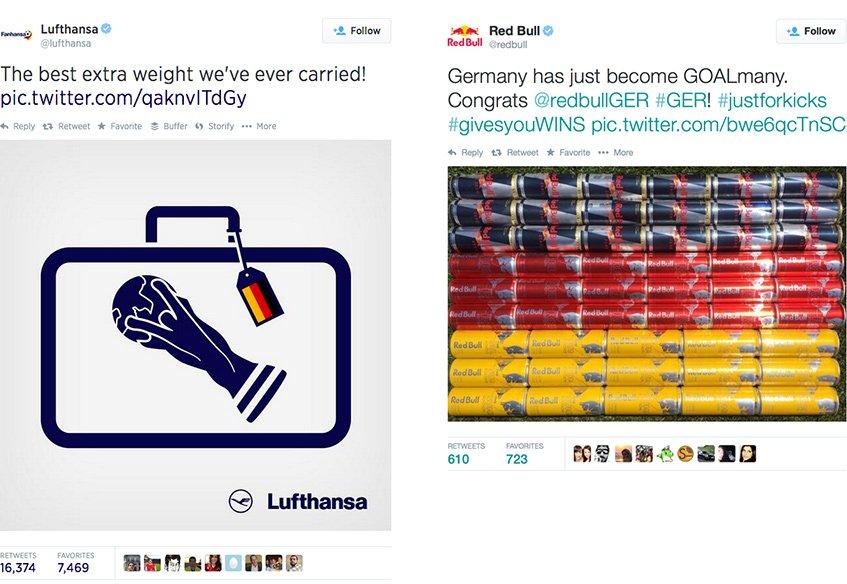 Tweets da Lufthansa e da Red Bull no Mundial 2014