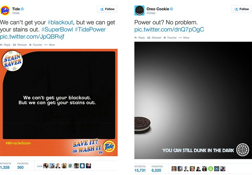 Tweets da Tide e da Oreo em pleno Superbowl 2013