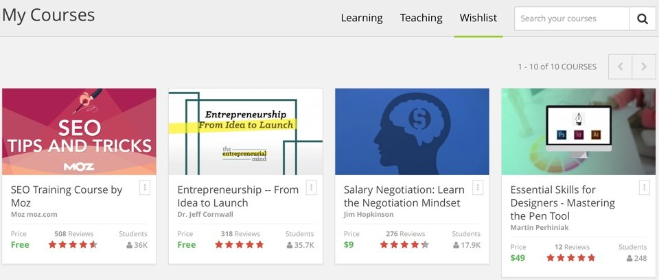 Udemy Wishlist