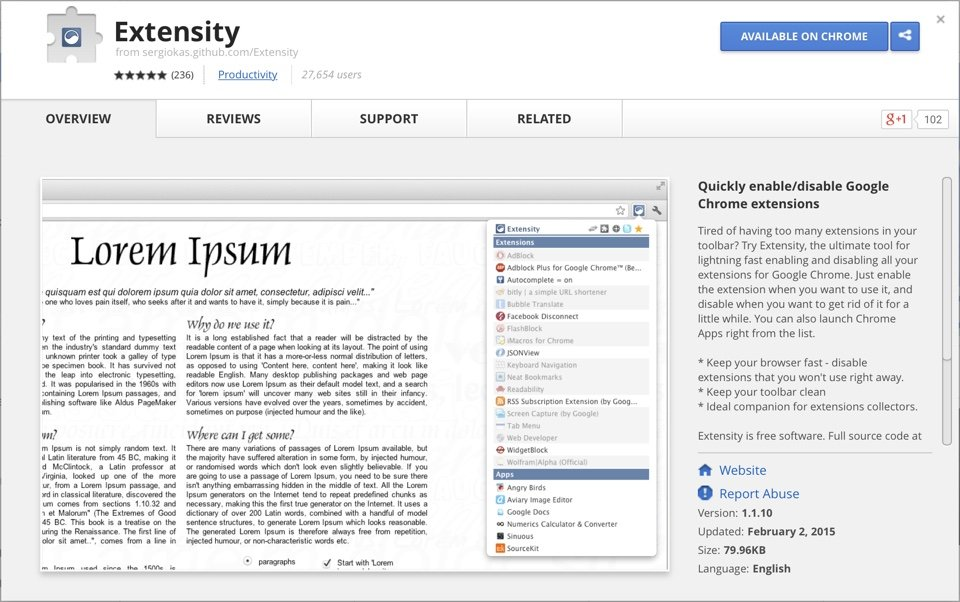 Extensity Chrome Store