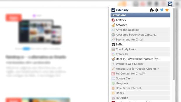 Extensity para Google Chrome