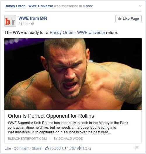 Facebook - Randy Orton mentioned