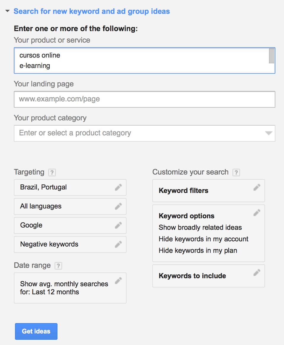 Google Keyword Planner com palavras-chave