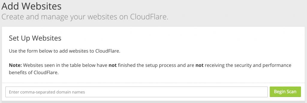 Adicionar um Website no CloudFlare