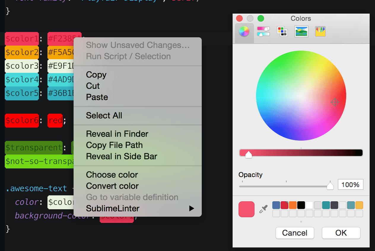 O Color Picker do Color Highlighter