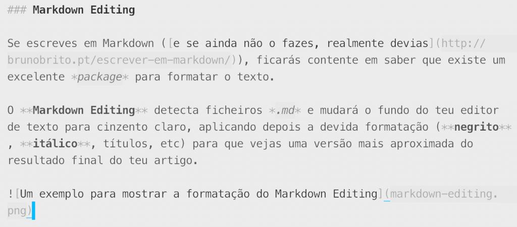 Um exemplo para mostrar a formatação do Markdown Editing