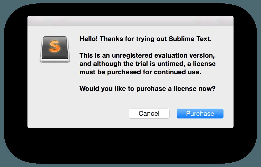 O pop-up da versão gratuita do Sublime