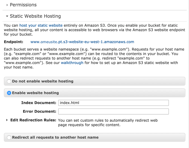 Amazon S3 - Static Website Hosting