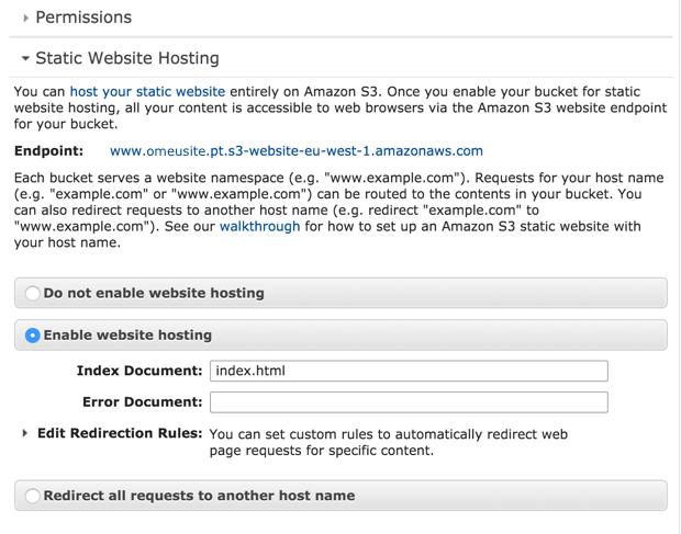 Amazon S3 - Static Website Hosting