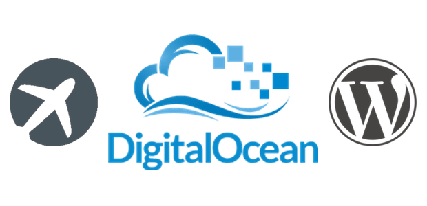 Logotipos ServerPilot, DigitalOcean e WordPress