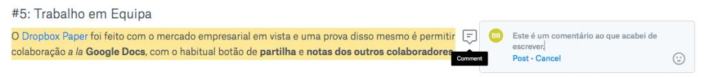 Dropbox Paper - Comentar