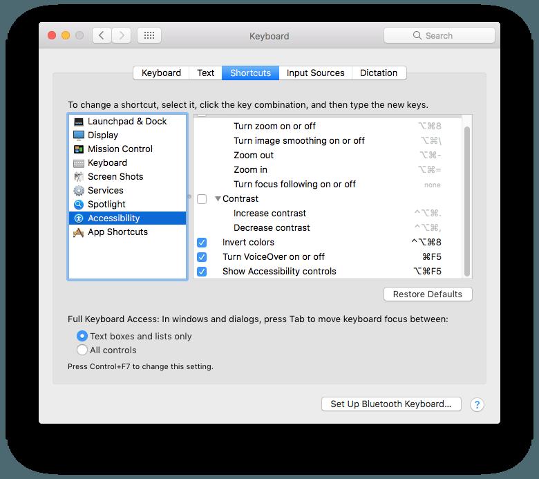 Invert Colors como atalho de teclado