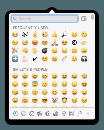 Painel de Emojis do OSX