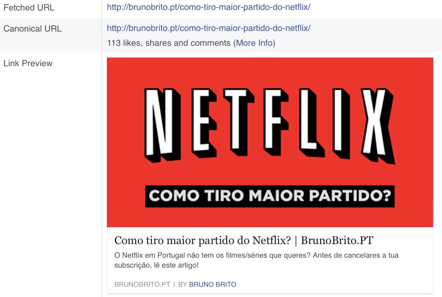 Facebook Debugger em acção