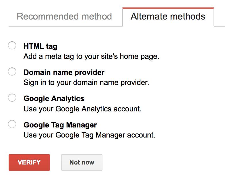 Métodos de Verificação Google Search Console