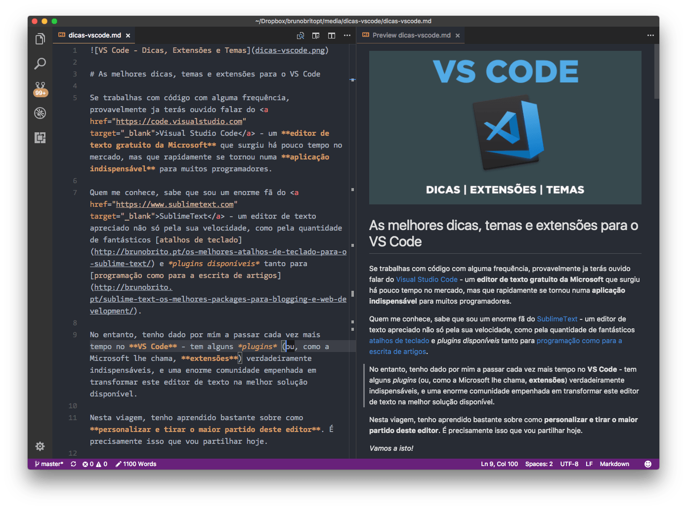 Markdown All in One para VS Code