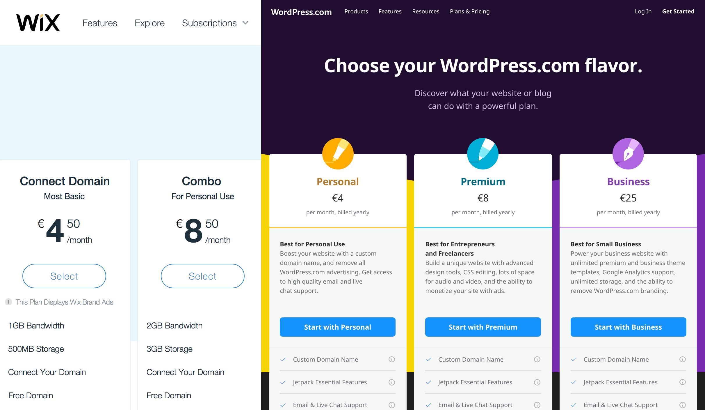 Custom Domain no preçário do WordPress.com e do Wix
