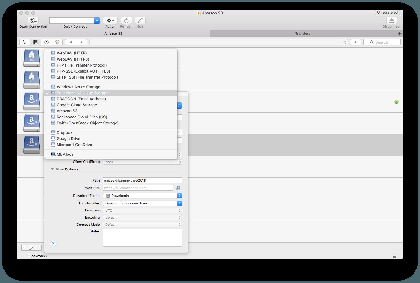 O Cyberduck para Mac em acção