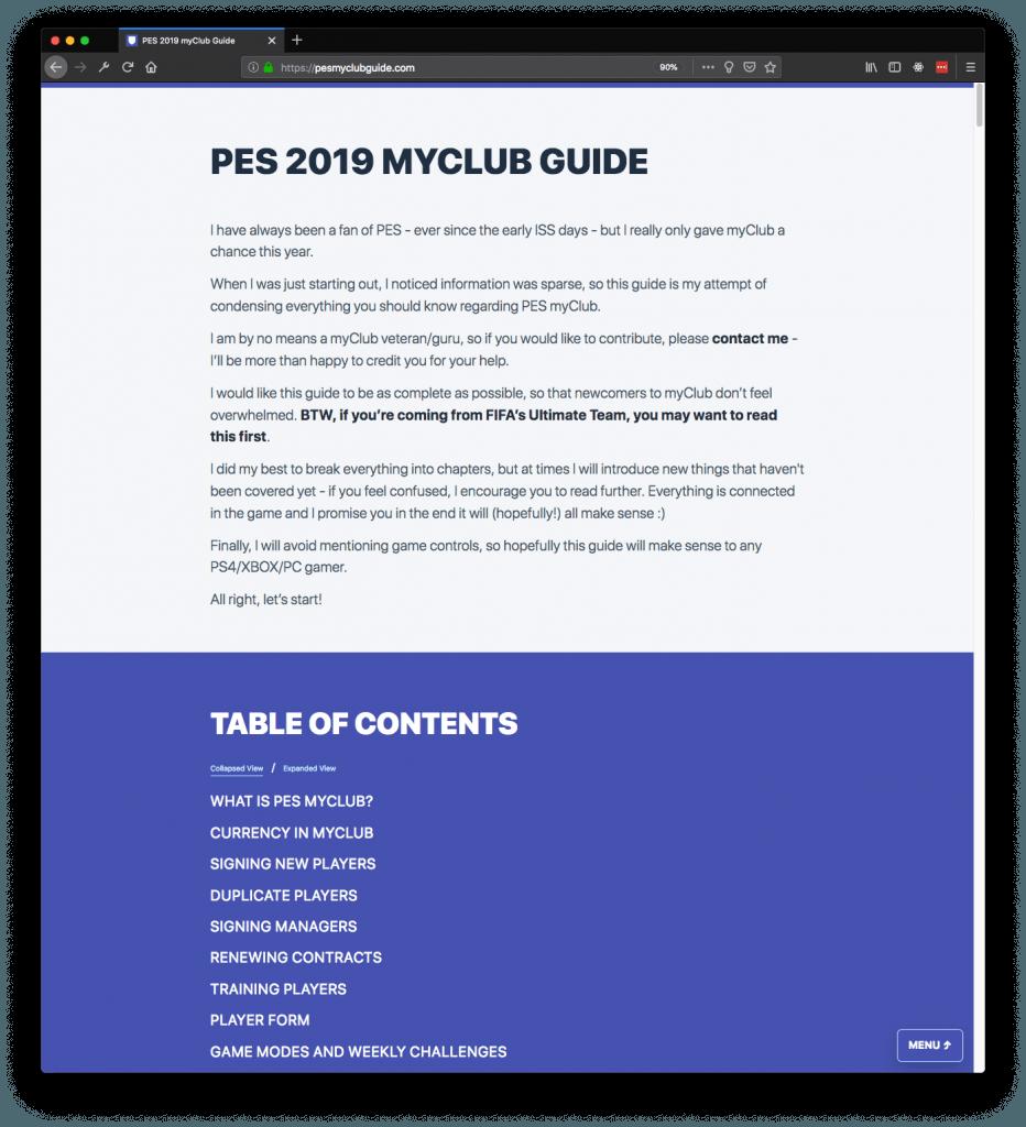 pesmyclubguide.com screenshot
