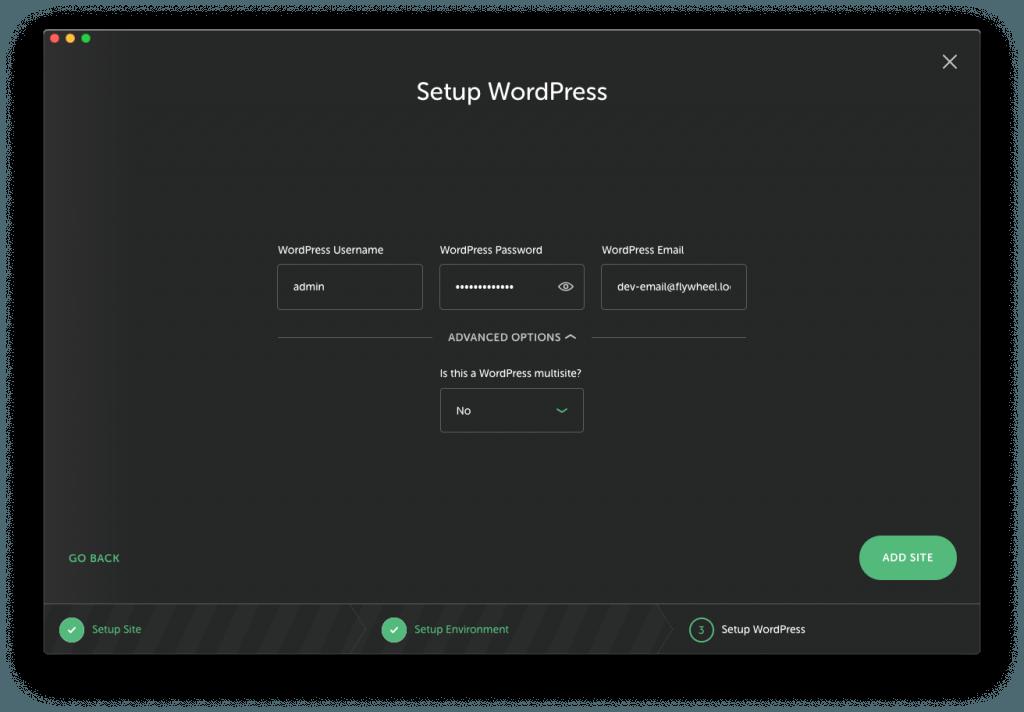 Flywheel - Criar Site WordPress - ecrã 3